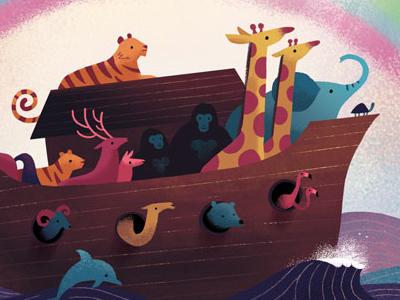 Noah's Ark book cover illustration rainbow cute zoo animals storybook children religion bible noahs ark