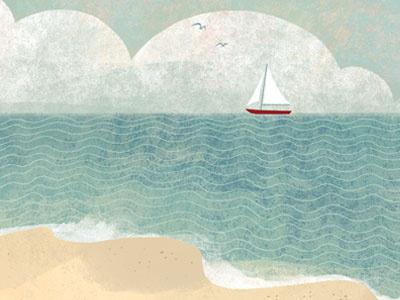 Beach illustration ocean sailboat texture landscape beach kid lit childrens book