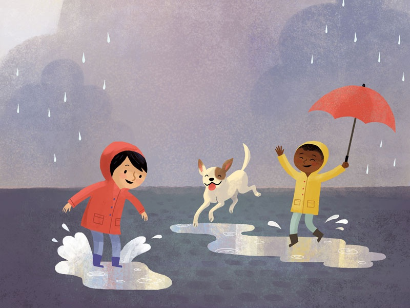 Splashing in Puddles cute raincoat illustration childrens book children rain splashing