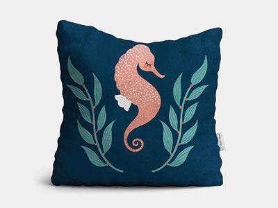 Seahorse Pillow illustration childrens home decor pillow marine life sea ocean seahorse