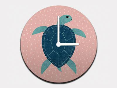 Smiling Sea Turtle Clock marine life children home decor animals illustration turtles sea ocean sea turtle clock