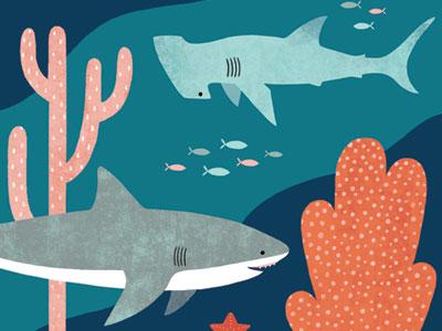 Silly Sharks Blanket home decor illustration animals coral reef coral sea ocean marine life great white shark hammerhead sharks