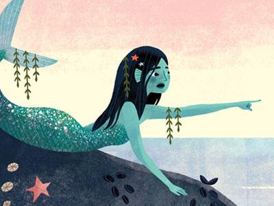Mermaid fish seaweed character design narrative childrens book sealife ocean kidlit illustration mermaid