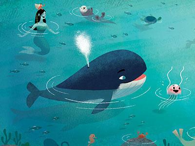 Jellyfish brothers mermaids turtle illustration otters sealife whales kidlit childrens book ocean jellyfish