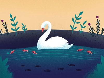 Swan birds poster landscape scene illustration floral nature pond fish animals swan