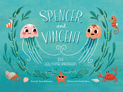 Spencer and Vincent cover illustration hermit crab crab seahorse starfish sea siblings brothers ocean jellyfish kid lit childrens books