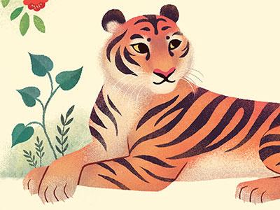 Tiger ketubah plants decorative illustration animals tiger