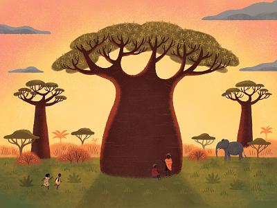 Baobab landscape childrens book nature illustration