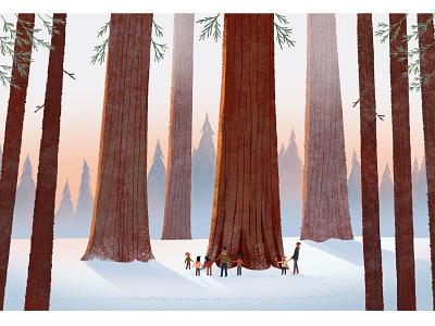 Sequoia trees sequoia redwoods california painting landscape nature childrens books illustration