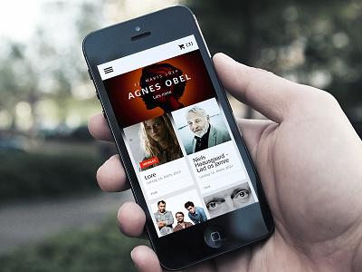 Mobile Frontpage music website mobile grid