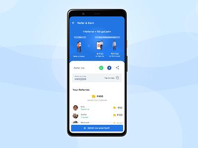 Refer & Earn Redesign - GoIbibo referral happy blue bright redesigned mobile app mobile ui app vector ux logo design illustration