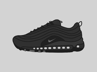 Air Max 97 Triple Black | Minimal Illustration