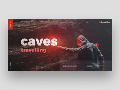 Caves Travelling travel caves web site dark site web design black design ux ui