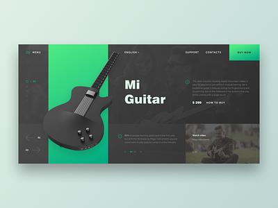 Mi Guitar music guitar web site grid dark site web design black design ux ui