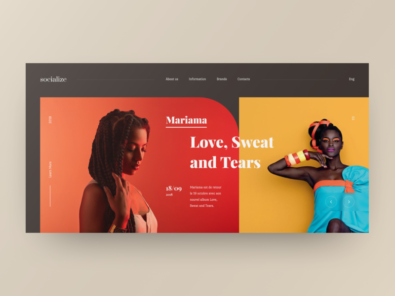 Mariama web site yellow red grid site web design design ux ui