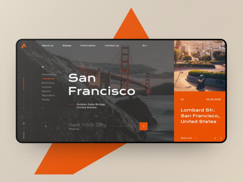 Aunited - concept usa states dark web site grid site web design black design ux ui
