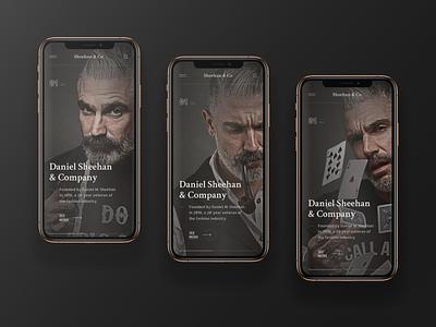 Daniel Sheehan & Company store onboard phone mobile fashion dark web site grid site black web design design ux ui