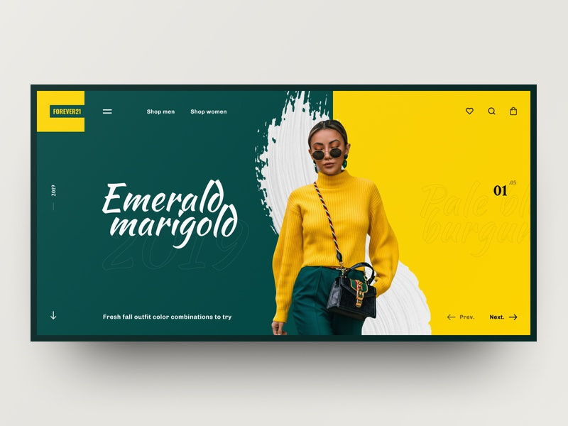 Forever21 Concept page green yellow fashion web site dark grid site black web design design ux ui