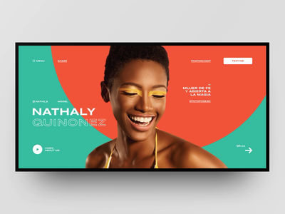 Nathaly Quinonez - personal website concept animation interaction colors summer model fashion layout web site grid design ux ui