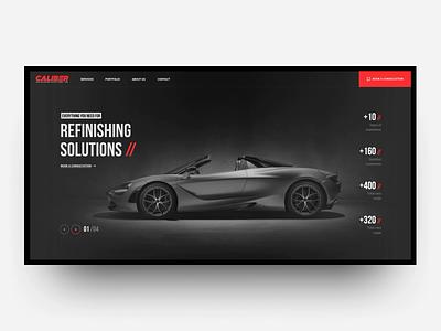 Caliber Refinishing Solutions Inc. Web Design red motion interaction dark black site grid design ux ui animation