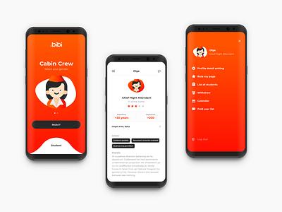 BiBi Application profile menu android ios application app design ux ui mobile