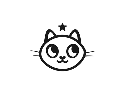 Happy Kitten blackandwhite black and white simple stars star kittens cat kitten kitten pet care pet symbol animal logotype black  white monochrome minimalism emblem logo cat logo cat