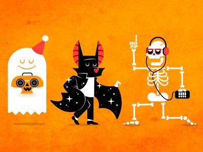 Spoopy halloween spooky bat skeleton ghost pumpkin boom box michael jackson