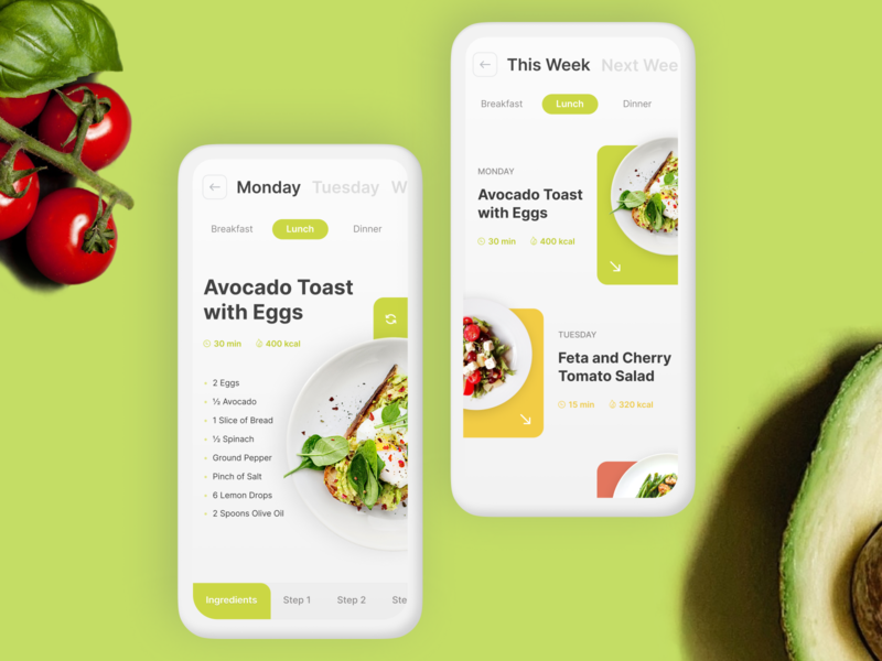 Weekly Recipe Recommendation App clean minimal light green ux ui recipe food app