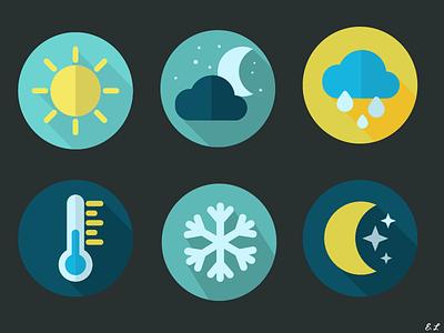 Weather Icons! linden der van evi sticker illustrator cute design flat illustration icons weather