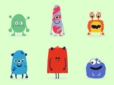 A fun set of characters monsters fun illustration leeds animation character character design
