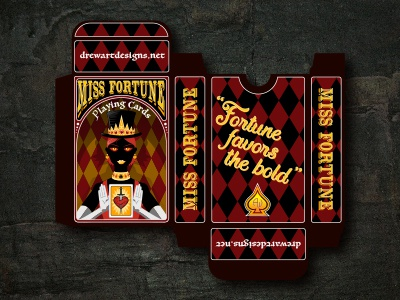 Miss Fortune Playing Cards print layout illustrator indesign package design