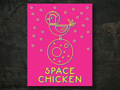 Space Chicken - Vector Illustration