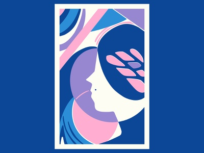 Bloom Lady geometric art colour posca illustration design color