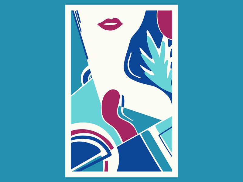 Blue Feeling geometric art colour posca illustration design color