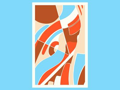 Blue Peach geometric art colour posca illustration design color