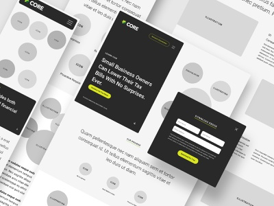 Core Group / Wireframes user interface website sketchapp taxes small business finance core group uiux design design interface ux ui webdesign wireframes