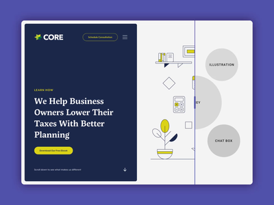 Core Group / Wireframes to Finished Design website design character design ui illustration webdesign taxes small business sketchapp finance design core group
