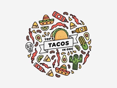 Top 5 Tacos in OKC / Illustration 5 de mayo graphic design fun vector iconography simple illustration digital illustration art illustrator oklahoma city icon design flat minimal illustration