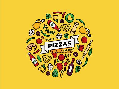 Top 5 Pizzas in OKC / Illustration simple oklahoma city vector minimal illustrator illustration digital illustration art illustration flat design pizza