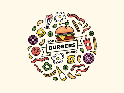 Top 5 Burgers in OKC / Illustration burgers line art digital illustration simple illustration art flat vector illustrator illustration oklahoma city design