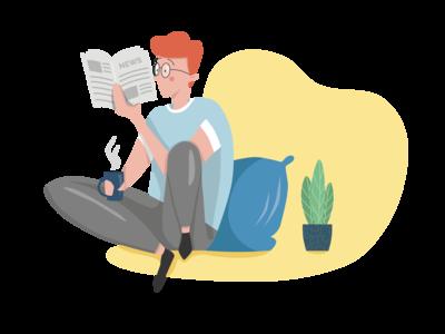 Guy reading newspaper