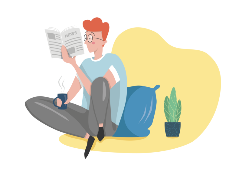 Guy reading newspaper illustration design personality illustration glasses reading newspaper news person man guy