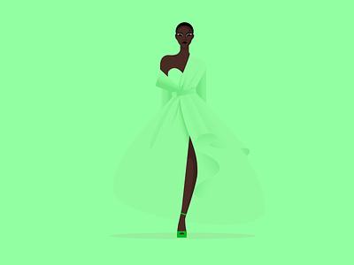 Model Girl design dressing green beautiful model characer girl vector illustration illustrator