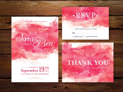 Wedding Invitation Pink Watercolor Set by Lauren Bowman Dribbble