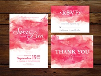 Wedding Invitation - Pink Watercolor Set