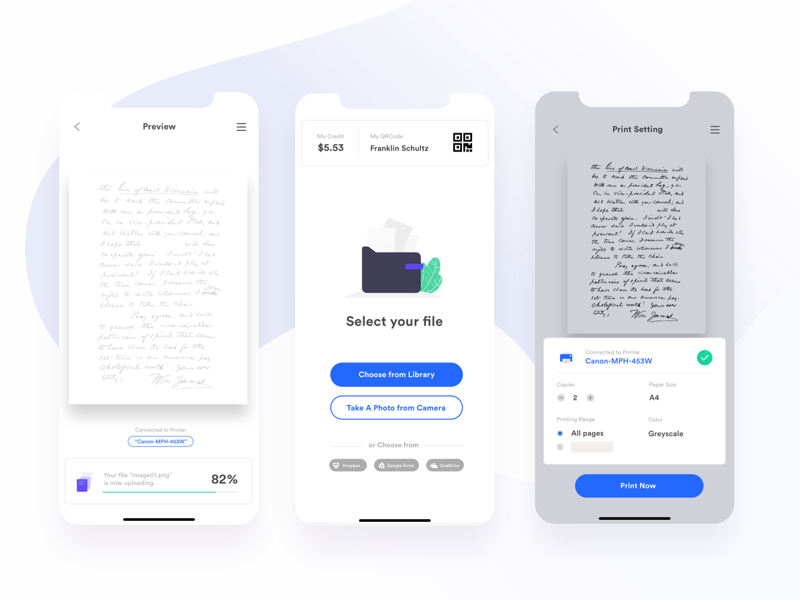 Printer App UI Design by Pimwipha Ch  on Dribbble