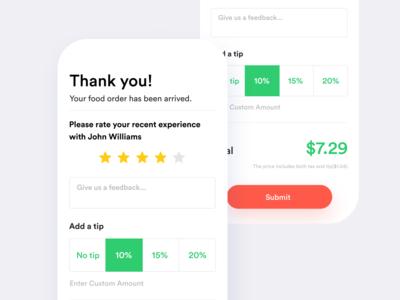 Food Delivery Tip App Design