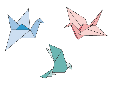 3 Little Birds geometric shapes origami
