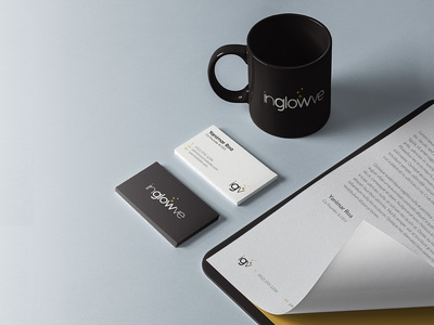 inglowve Logo Business cards, Papers and Coffe Mug