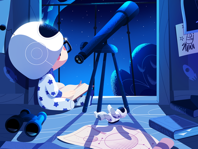 No dream is too big. telescope toys nightsky astronaut invitation debut space childhood stars illustration animation art